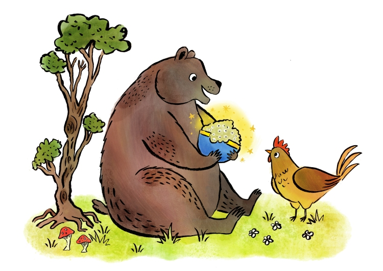 BEAR AND CHICKEN FINIAL ARTWORK